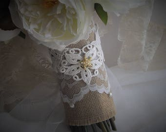 Burlap Lace Bouquet Wrap One Size Fits All Applique Vintage Inspired Pearls Handmade designed by handcraftusa Etsy