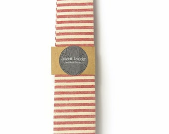 Red and ivory/cream striped tie - Wedding Mens Tie Skinny Necktie - Laid-Back necktie