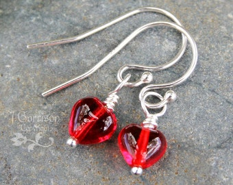 Tiny Red Glass Heart Earrings, sterling silver hooks- other color options available -Free Shipping USA