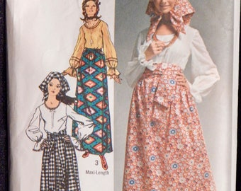 Misses' Skirt, Blouse, Scarf and Sash ( Simplicity 9112) Size 14