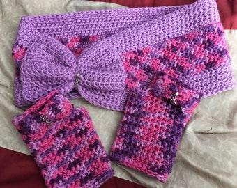 Crocheted  Infinity scarf with fingerless gloves with baby charms