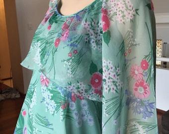 Beautiful Vintage 70s Floaty Floral Maxi Dress Boho