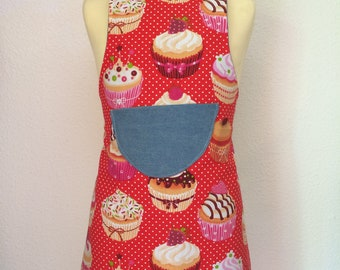 """Apron reversible """"Muffins jeans' 6-8 years"""