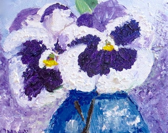 Pansies Original Oil Painting Purple White-Oil 6x6-Canvas-Home Decor-Wedding Gift-Impasto-Spring-Cottage-Impasto-Blue Jar Vase-Floral-Pansy