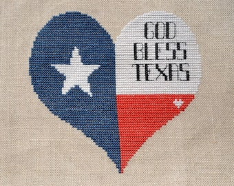 Texas Heart - God Bless Texas - Counted Cross Stitch Pattern only - Digital Download