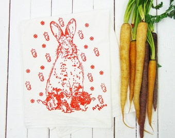 Carrot Bunny Flour Sack Towels, Screen Printed Tea Towel, Kitchen Towels, Tea Towel Flour Sack, Rabbit Illustration, 100% cotton Dish towel