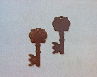 Stamping Key, Fancy Key Vintaj Blank, Hand Stamping Supply, Brass Pendant, 35x16mm, 2 Pieces