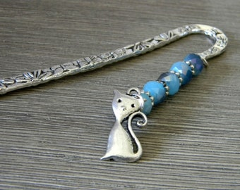 Cat Bookmark with Blue Glass Beads Flower Shepherd Hook Bookmark Silver Color