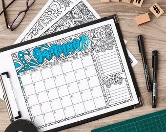 2018 CALENDAR - Printable Monthly Wall Calendar, 2018 Printable Calendar, Printable Year Calendar 2018 PDF, Calendar Template Planner Insert