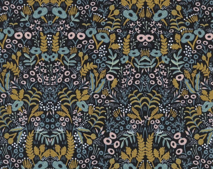 Menagerie by Rifle Paper Co for Cotton + Steel - Tapestry Midnight - Metallic Cotton Woven Fabric