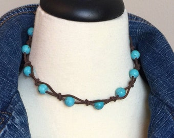 Womens Turquoise Leather Necklace, Southwestern Jewelry, Leather Choker, Third Anniversary Gift, Wife Jewelry Idea, Blue Western Necklace