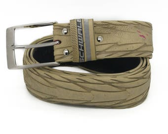 """Bicycle Tire Belt """"SCHWALBE WHITE"""" (upcycled vegan handmade) by tirebelt.com - Fall Collection 2017"""