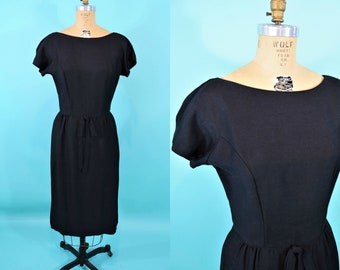 1950s black dress | short sleeve black cocktail sheath dress | vintage 50s dress | W 28""