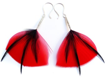 Large Poppy Style Feather Earrings in Bright Red with Shiny Black Triple Layered Accents