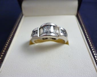 A chunky sparkly silver and CZ ring - 925 - sterling silver - UK P - US 7.75 - i