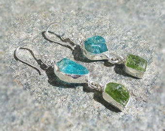 Silver Topaz Earrings blue and Topaz jungle