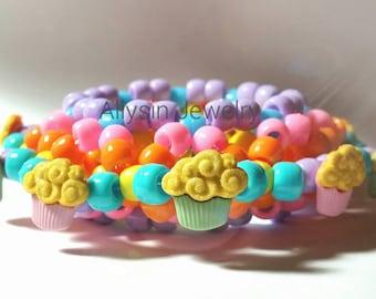 Pastel Cupcake Kandi Cuff, Kawaii 3D Kandy, Disc Style, Fairy Kei Raver Plur