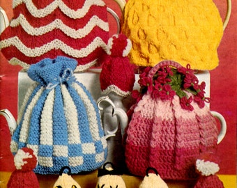 1960's  Knitted & Crocheted  Teapot Cosies  and Egg Cosies Pattern Instant Download PDF