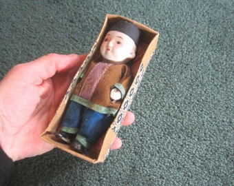 Vintage 1920s/30s Adorable Little Strung Chinese Boy Bisque Doll Made in Japan