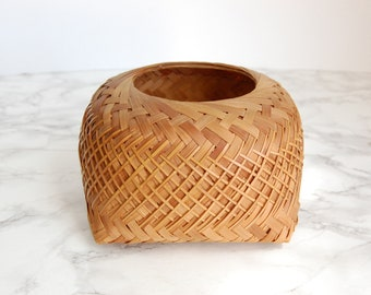 Small Woven Basket Box - Square Woven Reed Basket - Catchall