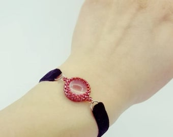 Velvet Bracelet with red glass charm
