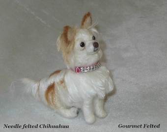 Personalized Gift / Custom Pet Portrait / Your DOG in Miniature / Cute / Poseable Art Sculpture / example Long coated Chihuahua