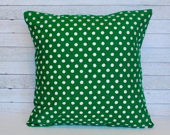 Green Christmas throw pillow cover - Polka dot pillow - 20x20 cushion - Farmhouse Christmas - Christmas decorations - Decorative pillow