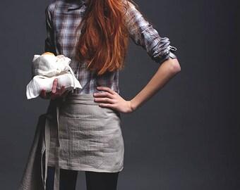 Linen Cafe Apron in Natural / Washed Handmade Waitress Apron / Short Waist Linen Apron / Mini Apron