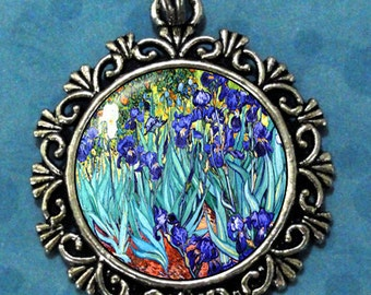 Garden of Irises Art Pendant, Violet Flowers Resin Pendant, Van Gogh Art, Photo Pendant