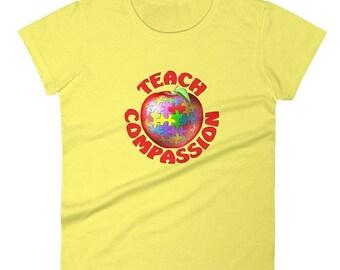Teach Compassion, Womens Tee Shirt, Global Citizen Shirt, Best Selling Shirts, Tagless Shirt, Teacher Shirt, Church Shirt, Top Selling Tee
