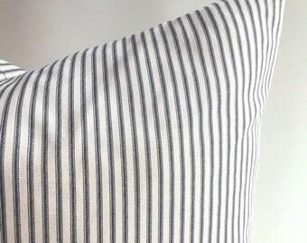 Black Ticking Stripe pillow cover / Schoolhouse pillow cover / Old fashioned pillow cover / Black mattress stripe pillow cover