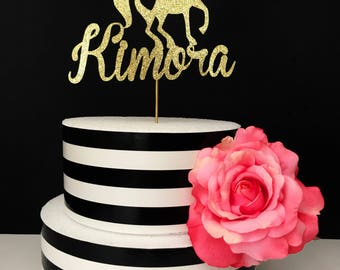 Gold- Name Unicorn Cake Topper- Centerpiece