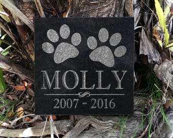 Dog Cat Customized 6x6 Granite Headstone Personalized with PawPrints Indoor/Outdoor Engraved Pet Memorial Stone Gift for Pets Animals