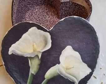 Calla Lilies on a Heart-Shaped Box