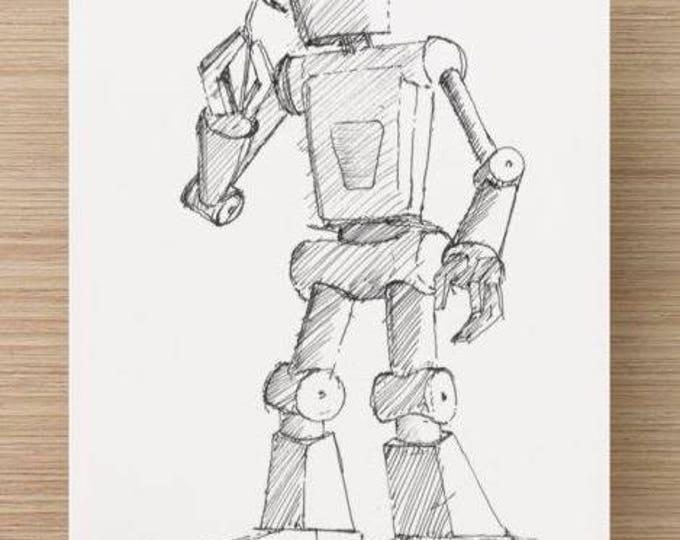 Ink sketch of Robot Sculpture at Burning Man 2015 - Nevada, Black Rock City, Ink Drawing, Sketch, Art, Print, 5x7, 8x10,