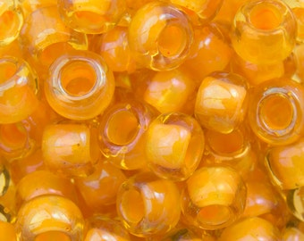 "Inside Color Jonquil / Burnt Orange Lined Toho Seed Bead 6/0 2.5"" Tube TR-06-950/C"