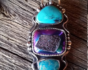 3 Stone Pendant Turquoise and Drusy