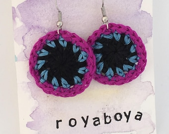 Crochet round circle purple and black  earrings bridesmaid Mother's Day gift for her