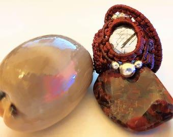 Rutile Quartz stone macrame ring.