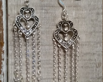 SALE - SALE - Swarovski Earrings, Heart Chandelier Earrings