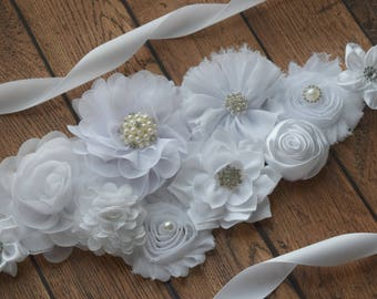 White sash, #2 ,flower Belt, maternity sash, wedding sash, flower girl sash, maternity sash belt