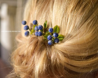 Handmade blueberry branches, Blueberry handmade accessories, Handmade berry jewelry,  Rustic wedding, Berries accessories, Hairstyle