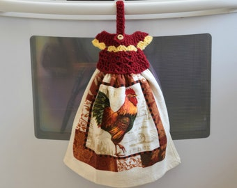 Rooster Hanging Towel - Kitchen Towels -  Love theme-  Crochet Towel Topper - Towel Topper - Hanging Kitchen Towels - Housewarming Gift