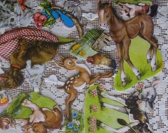 Vintage EAS Germany Die Cut Paper Farmyard Animal Scraps  3070A