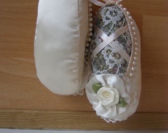 white ballerina Pointe shoes, sachets of herbs, pointes from textile for decoration