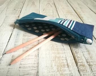 Blue striped zipper pouch, pencil case, make up bag