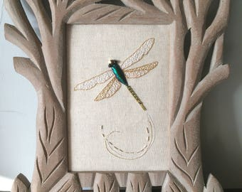 Dragonfly swirl - framed goldwork