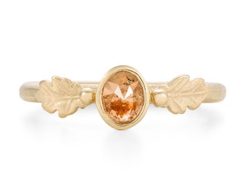 Cayenne Rose Cut Diamond, Oak Leaf Ring in 9ct Yellow Gold - Alternative Engagement Ring, Made To Order By Hand