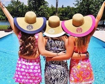 Custom Monogram Floppy Hat - Floppy Sun Hat - Beach Gear - Vacation  Gifts - Womens Hat