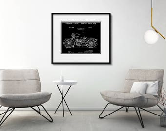 Harley Davidson Motorcycle Patent Print Matted and Framed or Just Matted and Ready for Your Frame